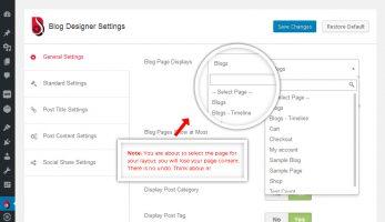 Blog Designer – Setting Panel