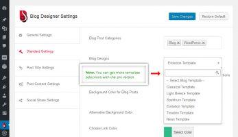 Blog Designer – Standard Settings