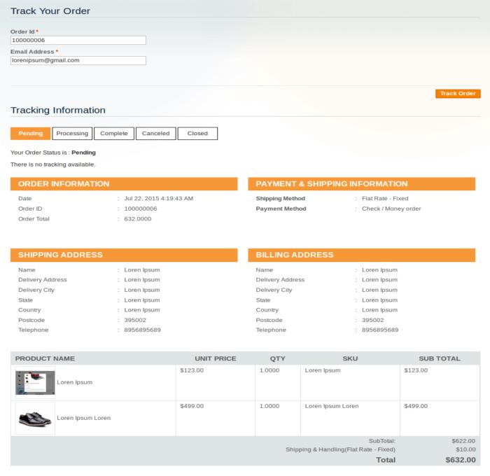 Client Side – Track Order Details