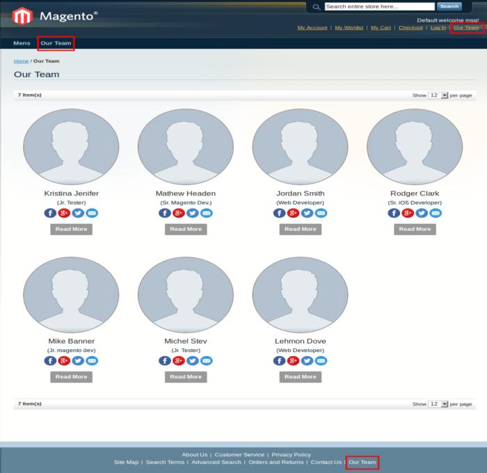 Client Side – Header & Footer Links