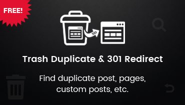 Trash Duplicate and 301 Redirect WordPress Plugin