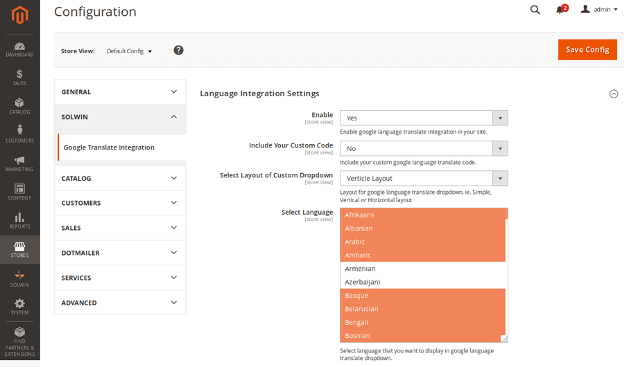 Google Language Translate Integration – Admin Settings