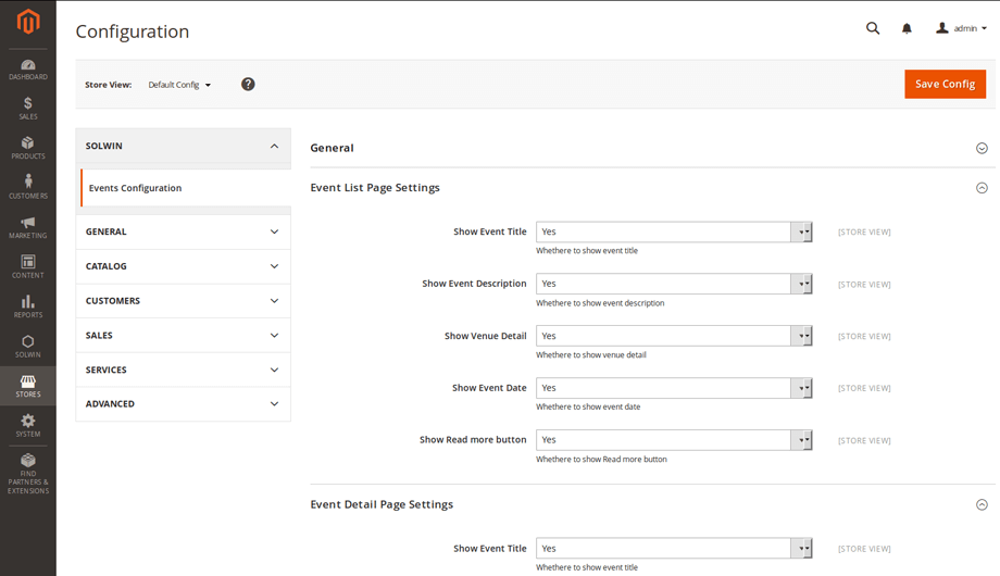 Events Manager Magento 2 Extension – Admin Settings