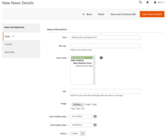 Advanced News Magento 2 Extension – Admin Add News