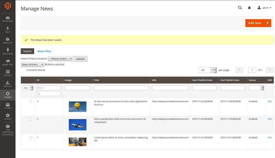 Advanced News Magento 2 Extension – Admin Manage News