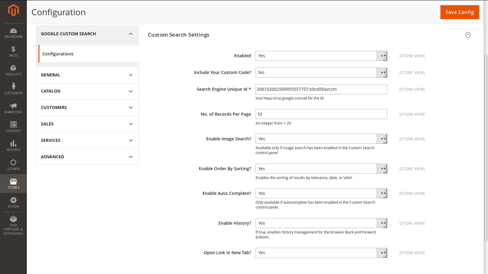 Google Custom Search Integration – Admin Settings