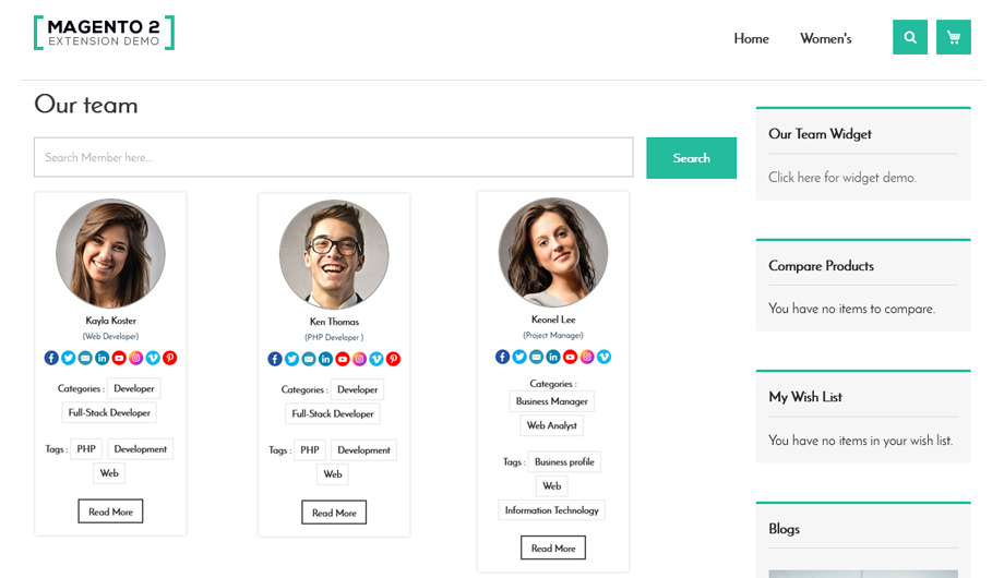 Our Team Magento 2 Extension – Member List