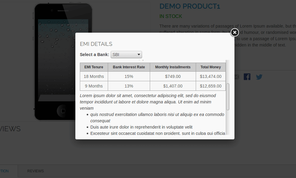 EMI Calculation – Magento Extension – Product View Page