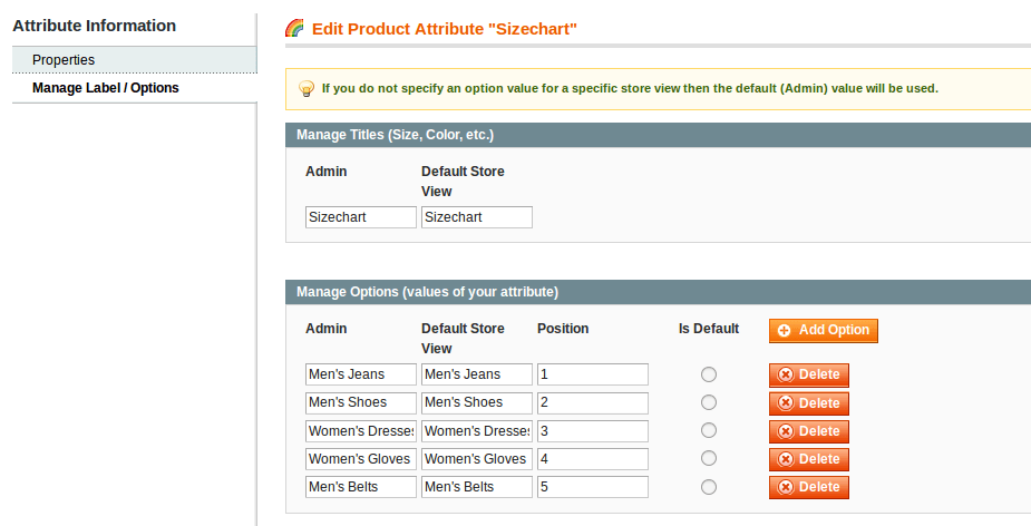 Size Chart – Create Attribute Option