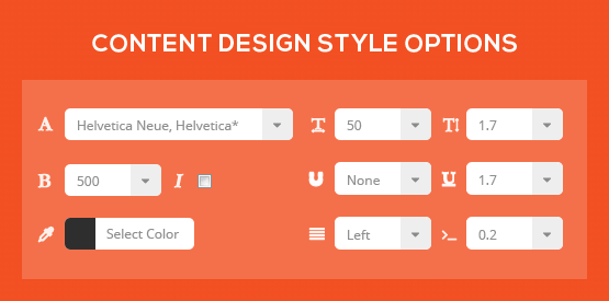 Content Design Style Options