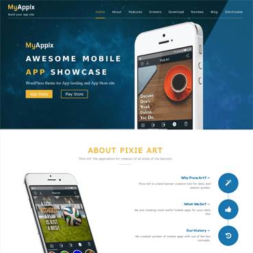 MyAppix - Moible App Showcase WordPress ThemeMobile App WordPress Theme