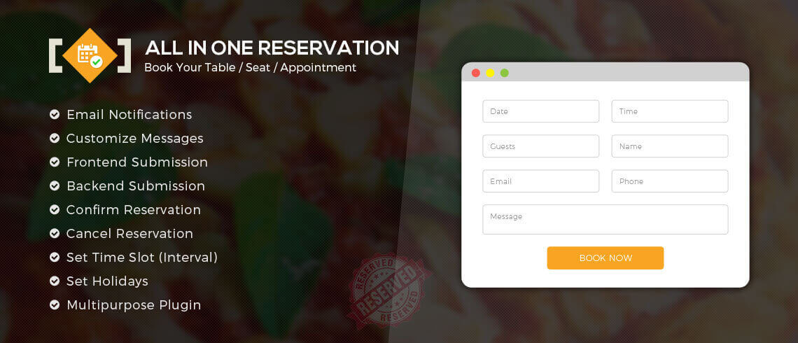 All in One Reservation - Premium WordPress Plugin