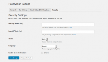 All in One Reservation – Security Settings