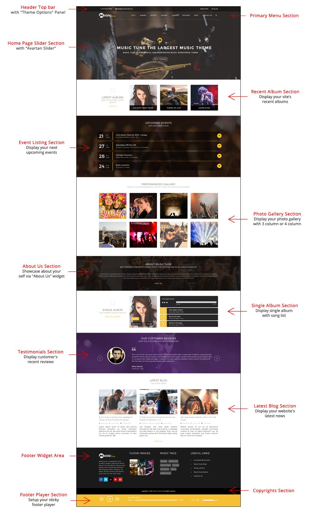 MusicTune WordPress Theme - Home Page