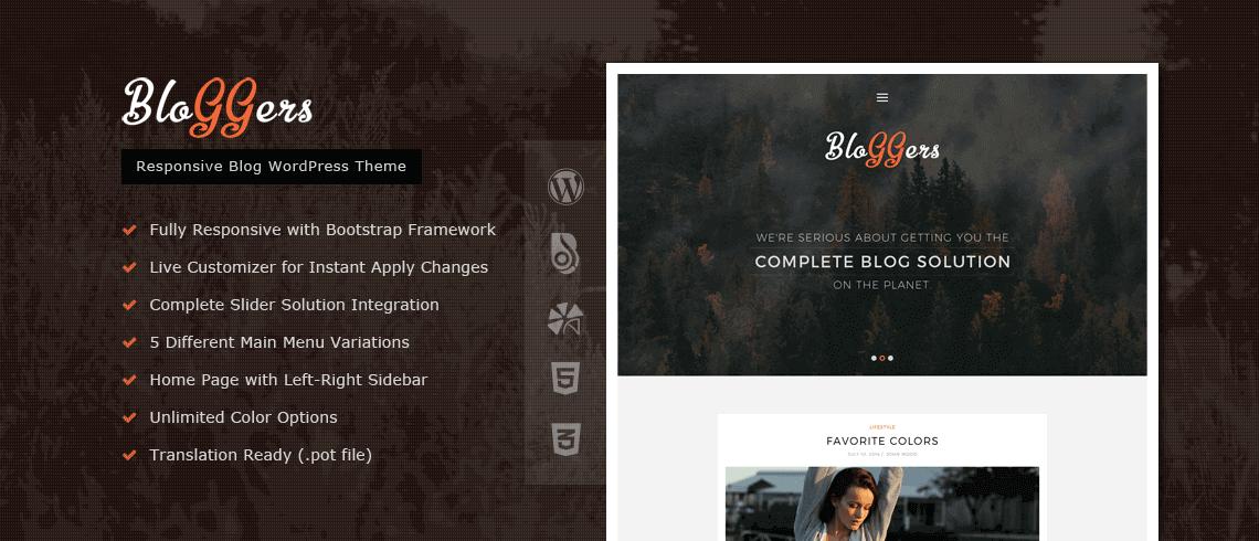 Bloggers - Responsive Blog WordPress Theme