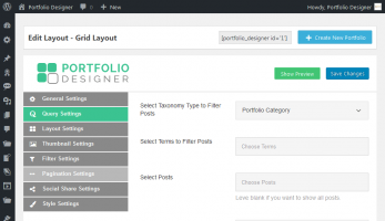 Portfolio Designer – Portfolio Query Settings