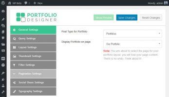 Portfolio Designer – General Settings