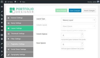 Portfolio Designer – Layout Settings