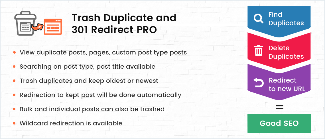 Trash Duplicate and 301 Redirection PRO WordPress Plugin
