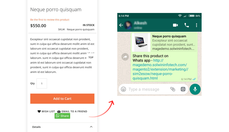 Share on WhatsApp – Mobile App Shre Link View