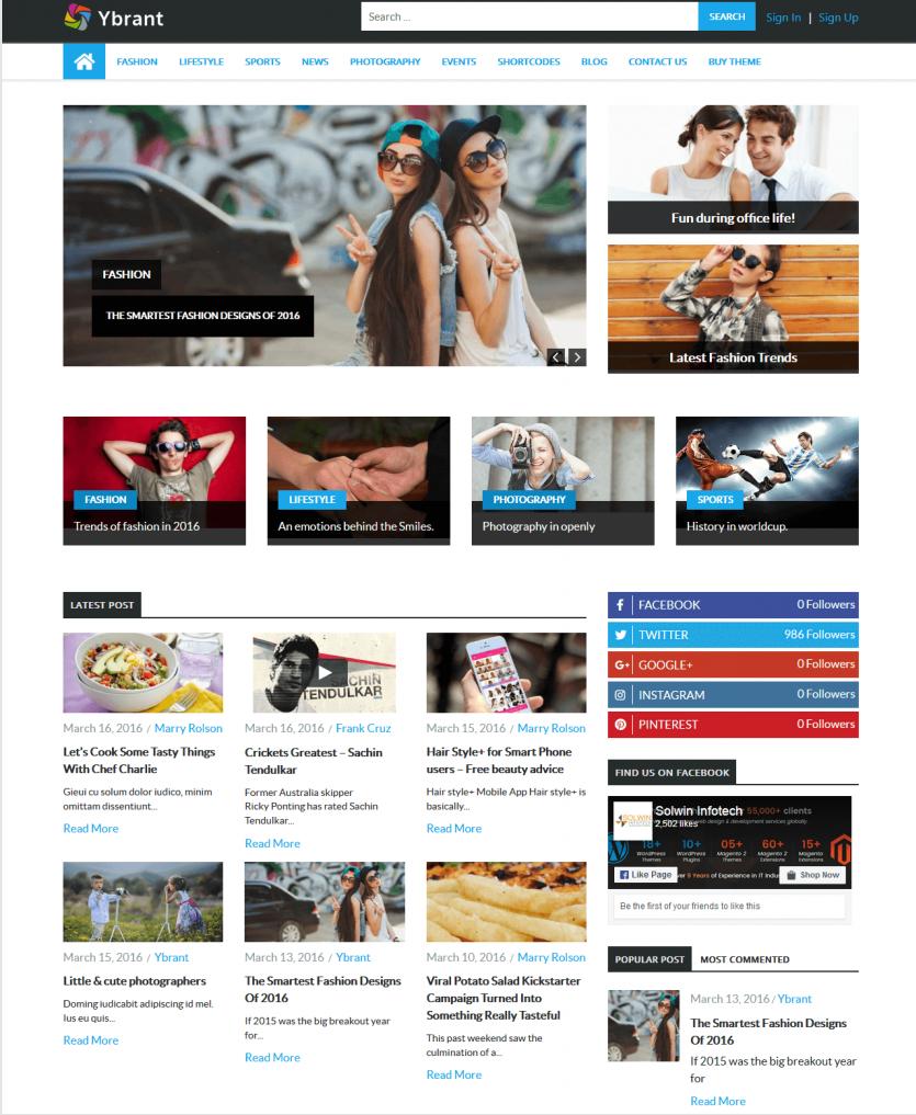 Ybrant - WordPress Theme